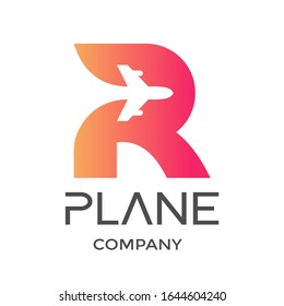 Letter R with plane vector logo. This design is modern and suitable for travel and transportation.