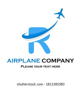 Letter r with plane vector logo. Suitable for travel,transportation, agency, brand, corporate etc