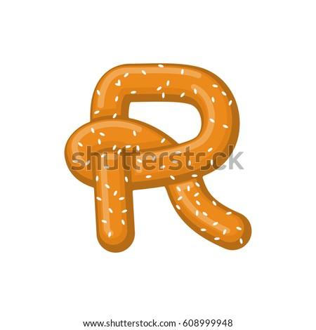 Letter R Pretzel Snack Font Symbol Stock Vector Royalty Free