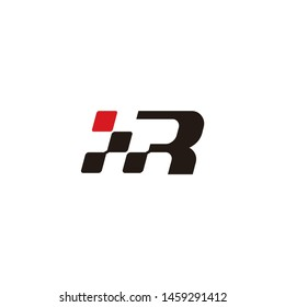 Letter R with Race flag icon, simple design race flag logo template minimalist
