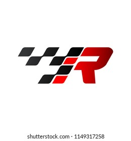 Letter R with racing flag logo