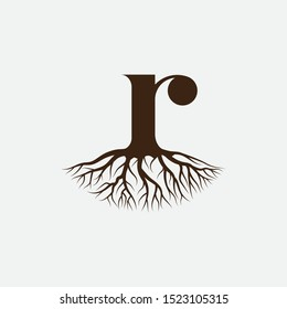 Letter R with root logo design vector template