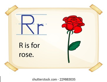 A letter R for rose n a white background