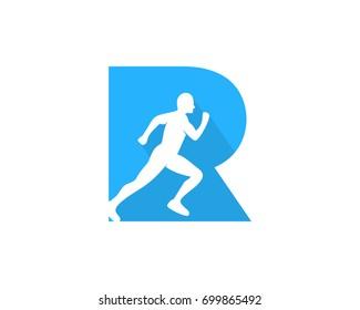 Letter R Run Icon Logo Design Element