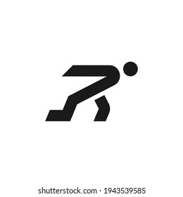 Letter R for Run Logo. Typography of R Initial forms running people