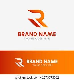Letter R Shape Logo template element symbol in orange gradient color
