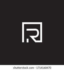 Letter R in a square. Vector illustration. line