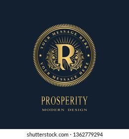 Letter R in the Sunlight. Coat of Arms with a Floral Wreath. Art Logo Design. Luxurious Monogram for Personal or Family Emblem, Business Sign, Wedding, Boutique, Hotel, Restaurant. Vector illustration