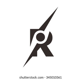 letter r with symbol of compass. logo vector.
