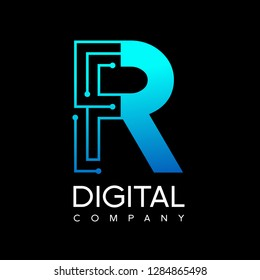 Letter R technology logo. Font digital vector design for industry with dot and blue color. Modern style with gradient. This logo is also suitable for machine business.
