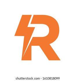 Letter R thunder power shape logo icon. Electrical Icon logo concept.