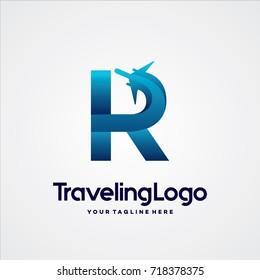 Letter R Travel Logo Template Design Vector, Emblem, Design Concept, Creative Symbol, Icon