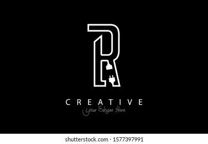 Letter R Trendy Design Logo Concept. Creative Icon Logo with Wire Plug and Socket Vector Illustration.