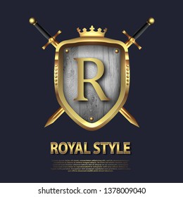 Letter R and two crossed swords and shield with crown. Letter Design in gold color for uses as heraldic symbol of power, loyalty, security, emblem, logo. Background Vector illustration. EPS 10