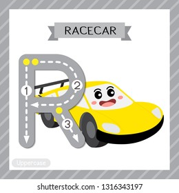 Letter R uppercase cute children colorful transportations ABC alphabet tracing flashcard of Racecar for kids learning English vocabulary and handwriting Vector Illustration.