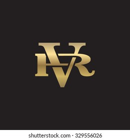 letter R and V monogram golden logo