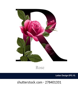 Letter R vector alphabet with rose  flower. ABC concept type as logo. Typography design