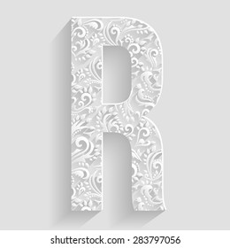 Letter R. Vector Floral Invitation cards Decorative Font