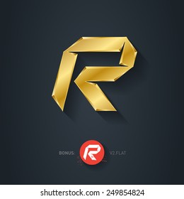 Letter R, Vector gold font. Elegant Template for company logo. 3d Metallic Design element or icon. Pseudo origami style, including flat version.