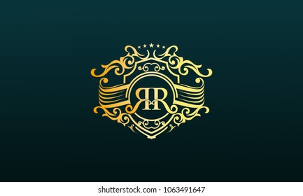 letter R R vintage emblem,monogram logo,luxurious royal ornament,vector illustration