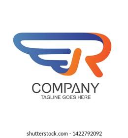 Letter R Wing Logo Design