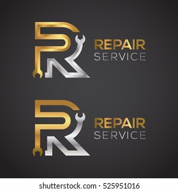 Letter R with wrench logo Gold and Silver color,Industrial,repair,tools,service and maintenance logo for corporate identity