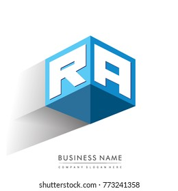 Letter RA logo in hexagon shape and blue background, cube logo with letter design for company identity.