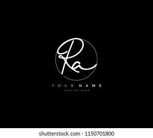 Letter RA Logo Manual Elegant Minimalist Signature Logotype