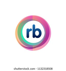 Letter RB logo with colorful circle, letter combination logo design with ring, circle object for creative industry, web, business and company.