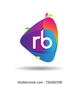 Letter RB logo with colorful splash background, letter combination logo design for creative industry, web, business and company.