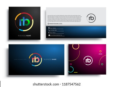 Letter RB logotype with colorful circle, letter combination logo design with ring, sets of business card for company identity, creative industry, web, isolated on white background.