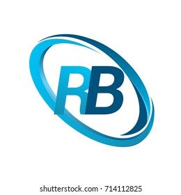 letter RB logotype design for company name colored blue swoosh. vector logo for business and company identity.