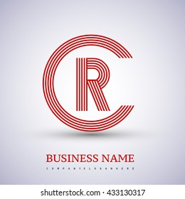 Letter RC or CR linked logo design circle C shape. Elegant red colored, symbol for your business name or company identity