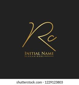 Letter Rc Logo. Initial Letter Design Vector Luxury Colors
