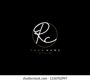 Letter RC Logo Manual Elegant Minimalist Signature Logotype