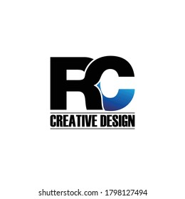 Letter RC simple logo design vector