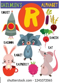Letter R.Cute children's alphabet with adorable animals and other things.Poster for kids learning English vocabulary.Cartoon vector illustration.