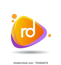 Letter RD logo in triangle splash and colorful background.