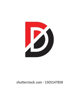 letter rd simple geometric logo vector