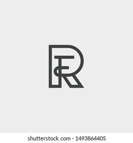 Letter RF or FR logo icon template design