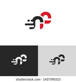 Letter rf linked lowercase logo design template elements. Red letter Isolated on black white grey background. Suitable for business, consulting group company.