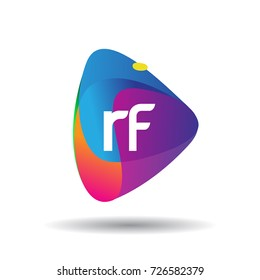 Letter RF logo with colorful splash background, letter combination logo design for creative industry, web, business and company.