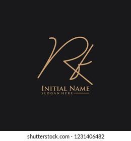 Letter Rf Logo. Initial Letter Design Vector Luxury Colors