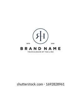 letter RH logo design vector template