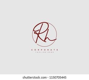 Letter RH Logo Manual Elegant Minimalist Signature Logotype