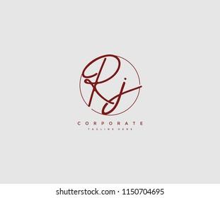 Letter RJ Logo Manual Elegant Minimalist Signature Logotype