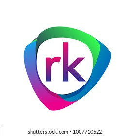 Letter RK logo with colorful splash background, letter combination logo design for creative industry, web, business and company.