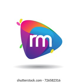 Letter RM logo with colorful splash background, letter combination logo design for creative industry, web, business and company.
