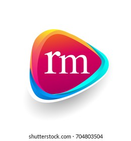 Letter RM logo in triangle shape and colorful background, letter combination logo design for company identity.