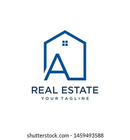 Letter A Roof House Logo Design Template,  real estate company ,  jewelry or hotel logo design concept. - VECTOR